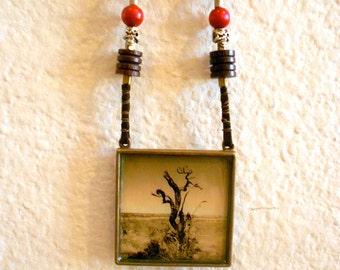 Arizona Necklace,Photo art pendant , sepia tone , antique brass pendant, Grand canyon in winter