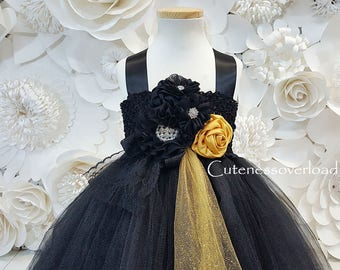 Black Flower Girl Tutu Dress-Black Fancy Tutu Dress-Black Girls Dress-Black Dress-Black Wedding Dress-Black Tutu Dress-Black Baby Dress