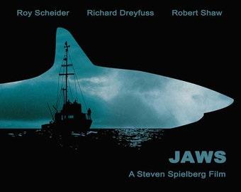 Jaws Minimalist Movie Poster Print, Steven Spielberg, Home Decor, Print Art Poster