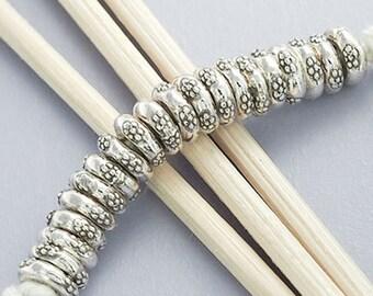 20 of Karen Hill Tribe Silver Disc Beads 6x2 mm. :ka2817