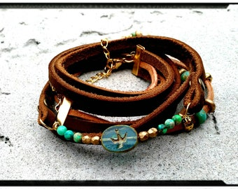 Swallow in Flight - Leather Suede Wrap Bracelet//Triple Wrap//Bead Wrap//Aqua//Czech Beads//Chocolate//Gold Accents - Boho/Gypsy/Gift