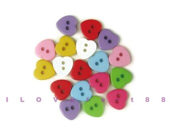 18 pcs 10MM Heart Buttons / 2 Holes Plastic Buttons / Sew-through Buttons / A set of 18 pcs mixed colors