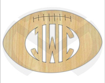Custom Wooden Football Monogram, Various Sizes, Unfinished, Initials, Gift, Home Decor, Laser Cut