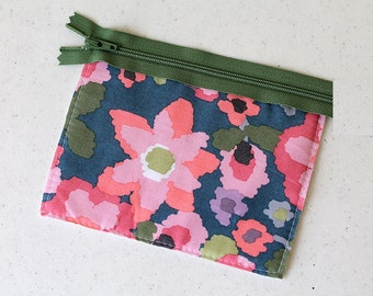 Pink wallet, zipper pouch, change purse, mini earbud pouch business card id holder, coin purse, cosmetic chapstick, cash envelope, small bag
