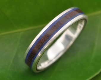 Lados Lapiz Nacascolo Striped Wood Ring with Recycled Sterling Silver, Stone and Wood Wedding Ring, Wood Wedding Band, wooden wedding ring,