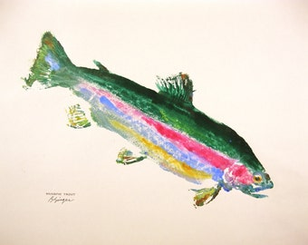 GYOTAKU fish Rubbing Colorful Rainbow Trout 8.5 X 11 quality Fly Fishing Art Print Cottage Decor by artist Barry Singer