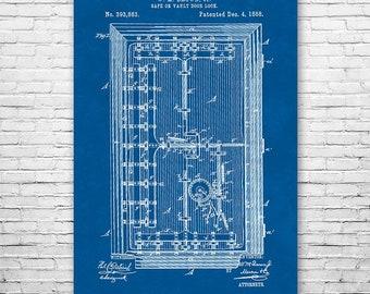 1800s Bank Vault Door Poster Art Print, Bank Vault Patent, Banker Gift, Locksmith Gift, Patent Art, Patent Print, Patent Poster, Wall Art