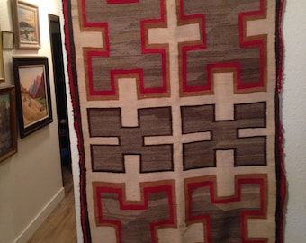 "Antique Navajo Rug Early 1900's   55""x34"""