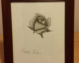 8 x 10 Sketch Pencil Drawing with 12 x 10 1/4 Frame