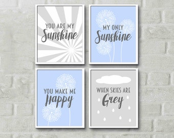 You are my sunshine poem prints blue grey nursery kids room prints