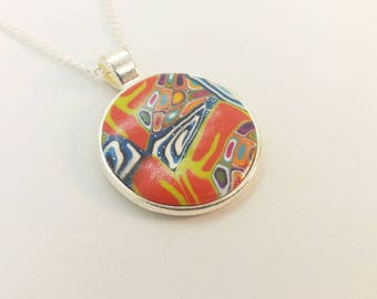 Polymer Clay Round Pendant Necklace J100101