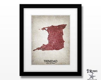 Trinidad Map Art Print - Home Is Where The Heart Is Love Map - Original Custom Map Art Print Available in Multiple Sizes