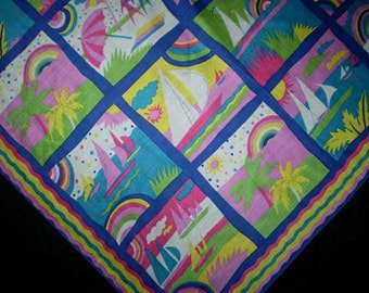 "Vintage 80s New Wave Beach Scenes Scarf 30"" x 31"""