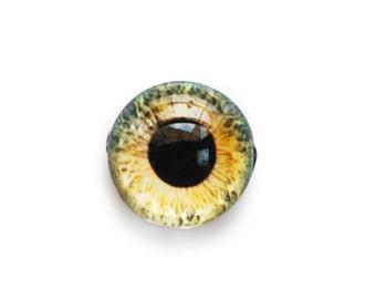 15mm handmade glass eye cabochon - yellow / green eye - Hemispherical / High Dome