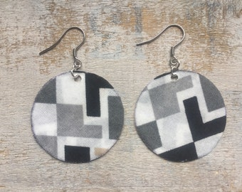 Fabric - surgical steel earrings