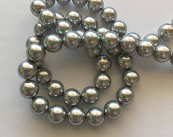 8mm Swarovski Light Grey Pearls Style 5810 - 10, 25, 50, 100 or 250 pieces