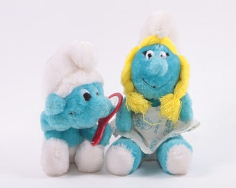 Smurfs Vintage Plush set of Two Cute Small Toys! ~ The Pink Room ~ 160920