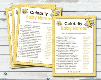 Celebrity Baby Names, Bee Celebrity Match Game, Baby Shower Celeb, Stars Baby Name Game, Bee Baby Shower Games, Baby Celebrity Quiz