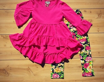 Pink Ruffle Shirt with Floral Leggings