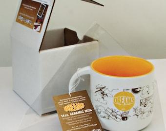 LIQUIDATION SALE! 14 oz. 'DREAMS' Aviation-themed Whimsical Ceramic Mug in gift/shipping box