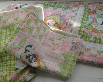 Vintage Twin Hollie Hobby Sheet set flat fitted pillowcase
