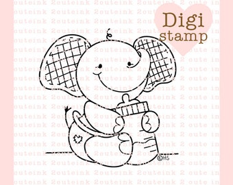 Baby Eli the Elephant Digital Stamp for Card Making, Paper Crafts, Scrapbooking, Stickers, Coloring Pages