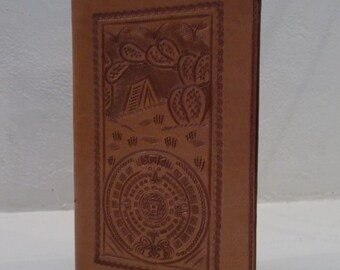 Tan Stamped Leather Wallet - made in Mexico