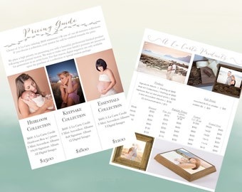 Photography Pricing Guide- 3 Choice Package & A la Carte Menu