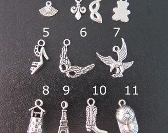 Add a Cute Charm Dangle to your Bangle Bracelet Order - Silver Charm Bracelet - Fan, Mask, Bear,, Shoe, Eagle, Well, Eiffel Tower, Boot, Cap