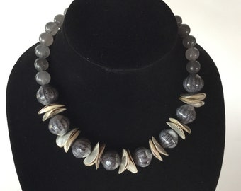 Fashionable Gray and Silver necklace