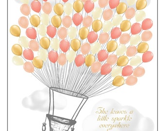 Personalized Pink and Gold Hot Air Balloon Baby Shower Guest Signing Poster