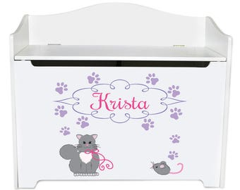 Personalized Kitty Cat Toy Box Bench Custom bench-whi-322