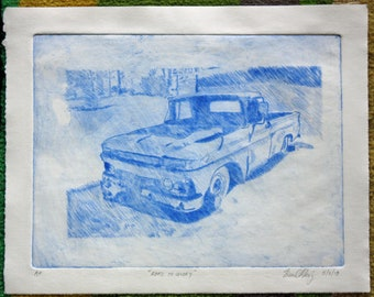 "Drypoint Print, ""Road to Glory"""
