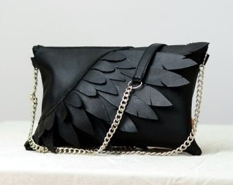 """Unique """"Wings"""" leather handbag, handmade leather clutch, made ro order"""