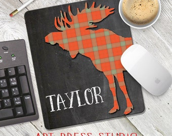 Chalkboard Moose Mousepad, Personalized Moose Mousepad, At the Cabin, Personalized Chalkboard Mousepad, Mountain Life