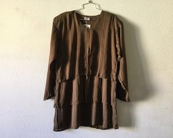 Vinage Blouse - Loose Layered Top Sheer Brown
