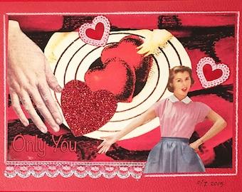 Original, Unique, Valentine Collage Mailable Art