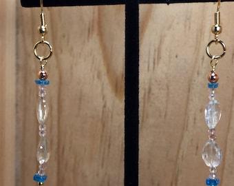 Natural Beryl, Strawberry Quartz and Neon Blie Apatite Dangle Earrings