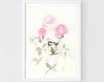 "Original watercolor,a bird in the rose garden,original painting,7""x10"",garden,home decor"