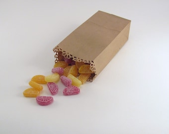 50 Candy Buffet Bags with Daisy Edge Kraft Extra Small Paper Bags for Wedding Favors or Showers or Party Gifts