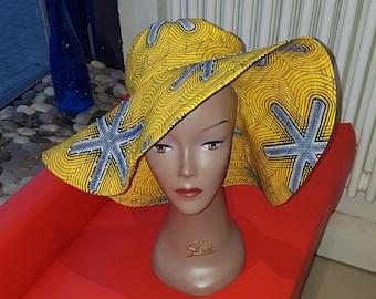 Waterproof African print satin lined wide brim Sun hat