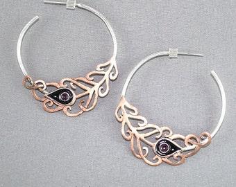 Peacock Feather earrings. Big silver hoop earrings. Delicate earrings. Bohemian earrings