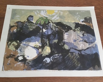 Vintage 1960's Richard Wiegmann Limited Edition Print Mid Century Modern Pencil Signed & Numbered MCM