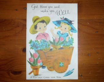 Vintage 1950's Unused Get Well Card - '50's Child's Child Boy Girl Friend Get Well Card - Religious Bible Verse Activity Get Well Card