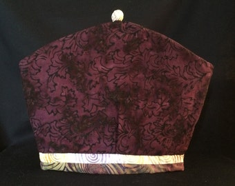 Burgundy Leaf Batik Tea Cozy, Coffee Cozy & French Press Cozy Quilt