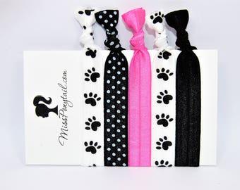 Paw Prints Hair Ties, Paw Print Hearts, Pink, Elastic Hair Ties, Handmade, Elastic Ribbon, Ponytail Holder, Knotted Hair Ties