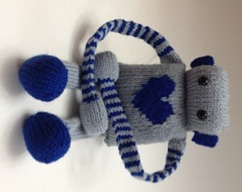 Cuddly Blue Knit Robot Toy