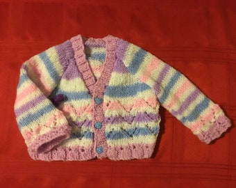 "New hand knitted baby girls Lacy cardigan in Candystripe Grapejuice 6 Months 21"" chest"