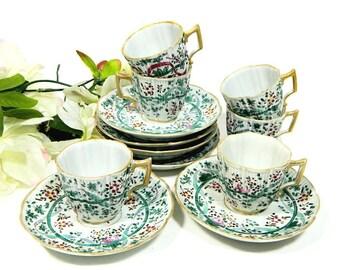 Six Antique French Hand Painted Demitasse Cups and Saucers Samson Porcelain du Paris