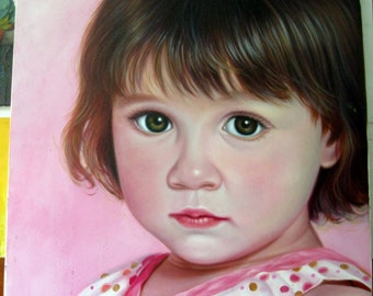 Baby portrait, large oil paintings on canvas. 100% money-back guarantee